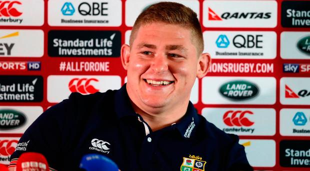 Tadhg Furlong was all smiles yesterday after his inclusion in the Lions team. Photo: David Rogers/Getty Images