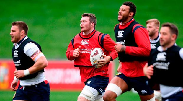 Peter O'Mahony, centre, leads his British and Irish Lions teammates during a training session at the QBE Stadium in Auckland, New Zealand. Photo: Stephen McCarthy/Sportsfile