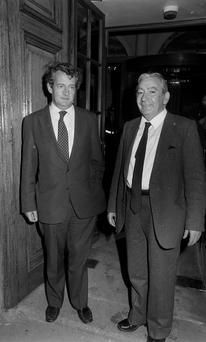 Des O'Malley (left) and Des Hanafin at Leinster House in October 1982. Photo: Tom Burke