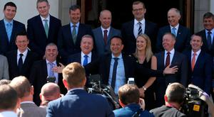 Taoiseach Leo Varadkar with his new junior ministerial team at Government Buildings in Dublin. Photo: Stephen Collins/Collins Photos