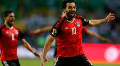 Mohamed Salah celebrates for Egypt