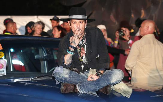 Johnny Depp at a screening of The Libertine during the Glastonbury Festival at Worthy Farm in Pilton, Somerset