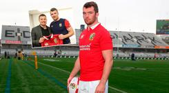 Peter O'Mahony and (inset) O'Driscoll hands the Lions captain his jersey