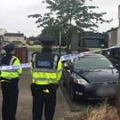Gardaí and an army EOD team at the scene of a suspicious device in Ballymun, north Dublin