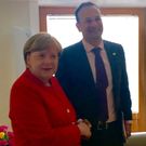 The Taoiseach Leo Varadkar mets German Chancellor Angela Merkel. Photo: @campaignforleo