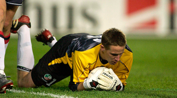 Nicky Colgan in action for Ireland in 2003