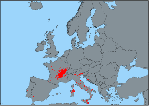 Bluetongue outbreaks in the EU between 1/1/2017 and 16/06/2017 (DG SANTE ADNS)