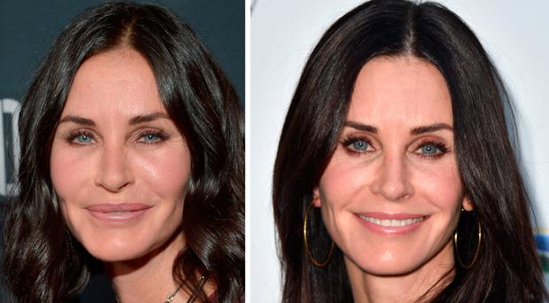 Courtney Cox in 2015, left, and in 2017, right