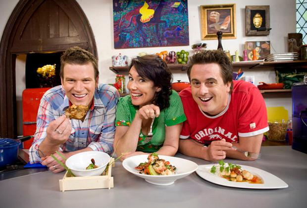 Darren Simpson, right, poses with his co-hosts and fellow chefs Anna Gare and Ben OÕDonoghue for their cooking show The Best in Australia. (Foxtel via AP)