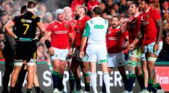 Rory Best of the British & Irish Lions speaks with referee Jerome Garces following a scrum during the match between the Chiefs and the British & Irish Lions