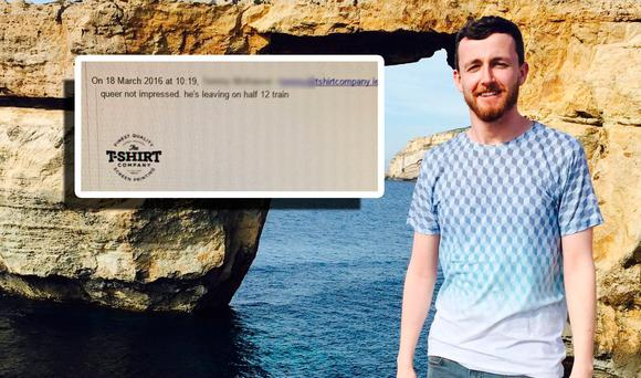 Dubliner Adam Shanley and the email he received. Photo: Twitter/@adlers1