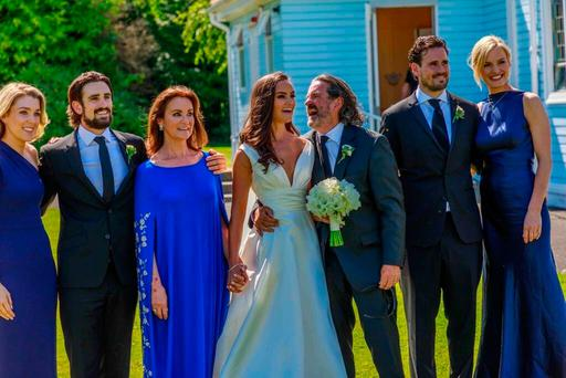 Johnny Ronan (third from right) with his daughter Jodie and other family members on her wedding day