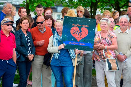 Vigil at University Hospital Waterford. Pictured at a vigil at the enterance of University Hospital Waterford for improved cardiac services. Picture: Patrick Browne