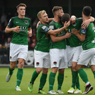 Gearoid Morrissey, second from right, of Cork City celebrates after scoring his side's second goal with team-mates, from left, Ryan Delaney, Conor McCormack Greg Bolger and Jimmy Keohane during the SSE Airtricity League Premier Division match between Derry City and Cork City at Maginn Park in Buncrana, Co Donegal. Photo by David Maher/Sportsfile