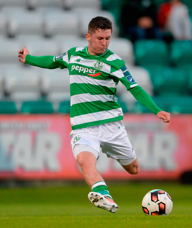James Doona of Shamrock Rovers scores his side's third goal. Photo by Piaras Ó Mídheach/Sportsfile