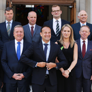 Taoiseach Leo Varadkar, centre, unveils his male-dominated line-up of junior ministers this week. Photo: Steve Humphreys