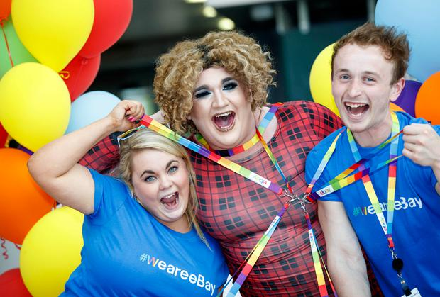 Drag queen Maria Damony celebrates with eBay staff Donna Barton and Stephen Gorman. Photo: Andres Poveda