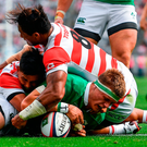 Josh van der Flier of Ireland scores his side's second try