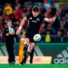 New Zealand's Beauden Barrett kicks a penalty