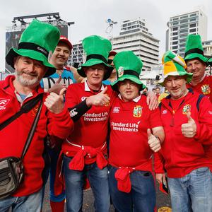 British & Irish Lions fans gather at Queens Wharf Auckland Fanzone for the Rugby Test match between the New Zealand All Blacks and the British & Irish Lions on June 24, 2017 in Auckland, New Zealand. (Photo by Dave Simpson/Getty Images)