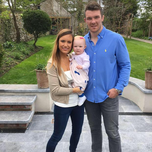 Peter O'Mahoney with girlfriend Jessica Moloney and their daughter Indie. Picture: Instagram