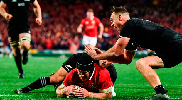Sean O'Brien of the British & Irish Lions goes over to score his side's first try