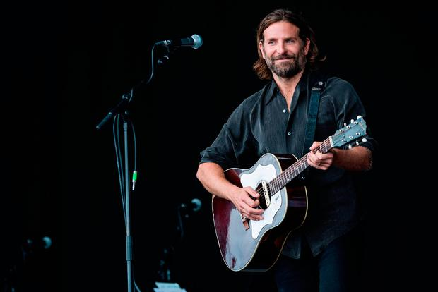 Bradley Cooper performs on the Pyramid stage to shoot footage for a film called