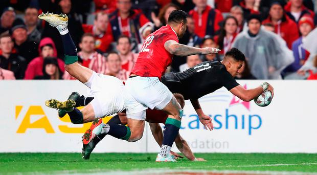 Rieko Ioane of the All Blacks goes over to score his team's second try during the first test match between the New Zealand All Blacks and the British & Irish Lions at Eden Park: Phil Walter/Getty Images