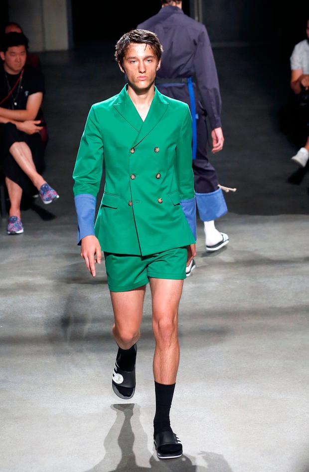 e5f06fca A model walks the runway during the 22/4_Hommes Menswear Spring/Summer 2018  show as part of Paris Fashion Week on June 23, 2017 in Paris, France.