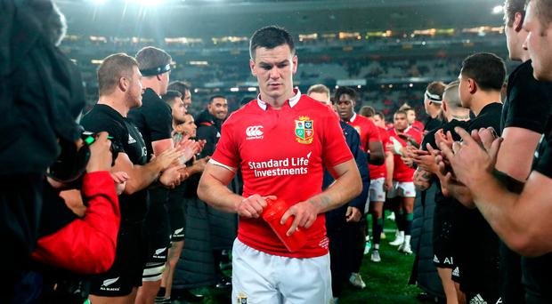 British and Irish Lions' Johnny Sexton leaves the field