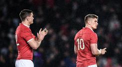 Owen Farrell, right, and Jonathan Sexton of the British & Irish Lions following the First Test match between New Zealand All Blacks and the British & Irish Lions at Eden Park in Auckland, New Zealand. (Photo By Stephen McCarthy/Sportsfile via Getty Images)