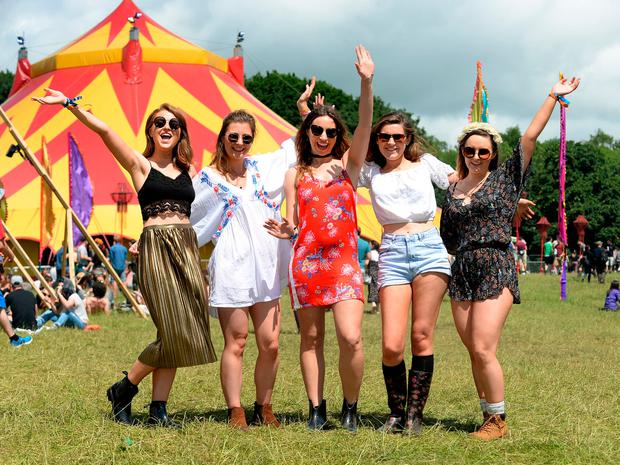 Ciara Gibbons, from Meath, Moya Culliton, from Laois, Robyn Traynor, from Kildare, Aisling Bourke, from Dartry, Dublin, and Eve Harrison, from Sandymount, at Body & Soul Festival. Ballinlough, Co. Westmeath. Picture: Caroline Quinn