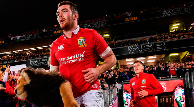 Peter O'Mahony leads the Lions out for yesterday's first Test against New Zealand in Auckland. Photo: Sportsfile