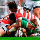 Josh van der Flier scores Ireland's second try during yesterday's win over Japan in Tokyo. Photo: Sportsfile