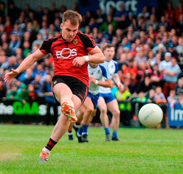 Darragh O'Hanlon of Down scores his side's first goal from a penalty during the Ulster GAA Football Senior Championship Semi-Final match between Down and Monaghan at the Athletic Grounds in Armagh. Photo: Sportsfile