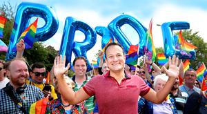 Taoiseach Leo Varadkar with a group of supporters in Dublin City centre Picture: Gerry Mooney