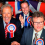 Sir Jeffrey Donaldson and party colleagues celebrate his election victory earlier this month. Photo: PA