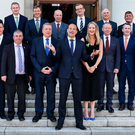 Team Taoiseach: Leo Varadkar in jovial spirits as he unveils his new Junior Cabinet outside Government Buildings last week. The new leader has come under criticism from some quarters over its gender and geographical balance. Photo: Steve Humphreys