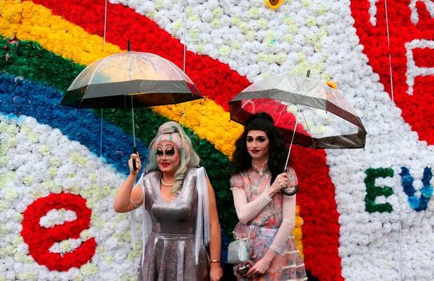 Members of DublinÕs LGBTQ (Lesbian, Gay, Bisexual, Transgender and Queer) community attending the Dublin LGBTQ Pride Festival in Ireland. PRESS ASSOCIATION Photo. Picture date: Saturday June 24, 2017. Photo credit: Laura Hutton/PA Wire
