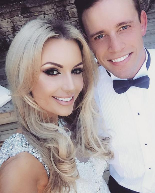 Rosanna Davison and husband Wesley Quirke at a friend's wedding. Picture: Instagram
