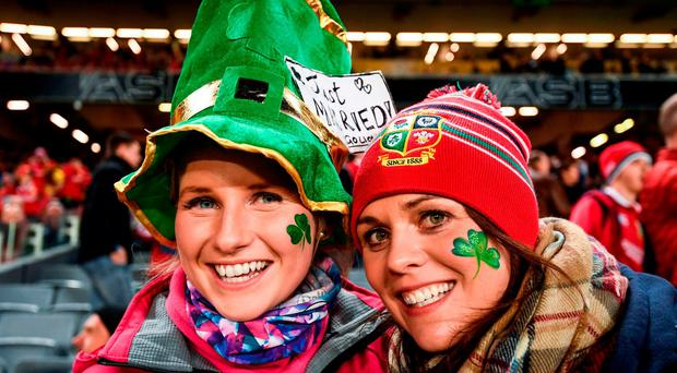 Susannah Hill, left, and Amy Cuttle from Co. Armagh prior to the First Test match between New Zealand All Blacks and the British & Irish Lions at Eden Park in Auckland, New Zealand. Photo by Stephen McCarthy/Sportsfile