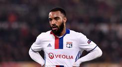Alexandre Lacazette of Olympique Lyonnais during the UEFA Europa League match between Roma and Olympique Lyonnais at Stadio Olimpico, Rome, Italy on 16 March 2017 (Photo by Giuseppe Maffia/NurPhoto via Getty Images)