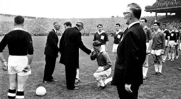 Galway and Meath players line up to kiss the bishop's ring before the 1966 All-Ireland final between Galway and Meath. Croke Park, Dublin.