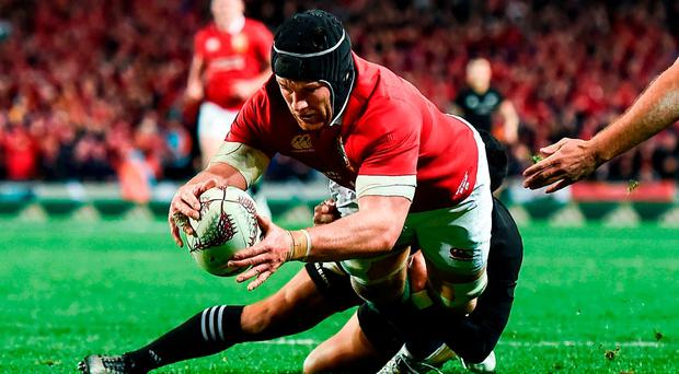 Sean O'Brien of the British & Irish Lions goes over to score his side's first try during the First Test match between New Zealand All Blacks and the British & Irish Lions at Eden Park in Auckland, New Zealand. Photo by Stephen McCarthy/Sportsfile