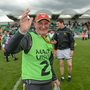 Carlow backroom staff member Sean Reilly celebrates following his side's victory during the GAA Football All-Ireland Senior Championship Round 1B match between London and Carlow at McGovern Park in Ruislip, London. Photo by Seb Daly/Sportsfile