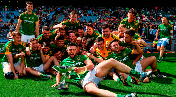 Meath players celebrate their Leinster JFC final victory over Louth. Photo: Eóin Noonan/Sportsfile