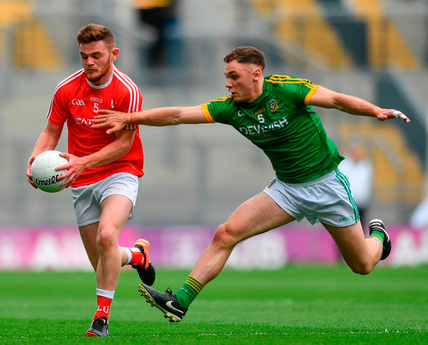 Louth's Niall Sharkey in action against David Tonner of Meath at Croke Park. Photo: Eóin Noonan/Sportsfile