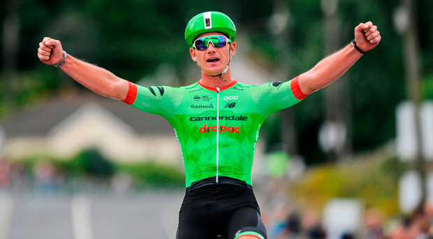Ryan Mullen of Cannondale - Drapac, winning the Elite Men Road Race. Photo by Stephen McMahon/Sportsfile