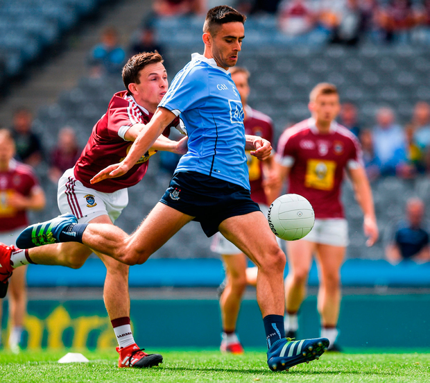 Dublin's Niall Scully of Dublin in action against Mark McCallon of Westmeath at Croke Park. Photo: Ray McManus/Sportsfile