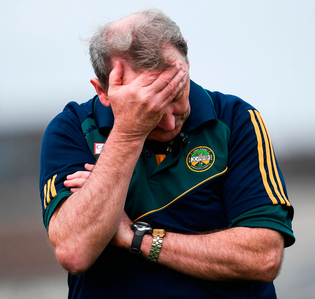 Offaly manager Pat Flanagan reacts in the final moments of the match . Photo: Ramsey Cardy/Sportsfile
